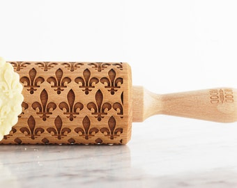 FLEUR DE LIS - embossed, engraved rolling pin for cookies
