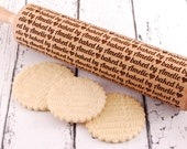 BAKED BY... (horizontal style) - Personalized, embossed, engraved rolling pin for cookies