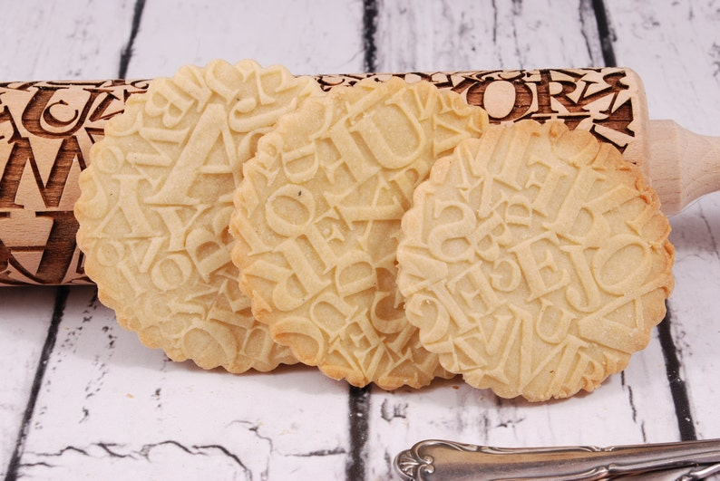 CRAZY WORDS engraved rolling pin for cookies embossed