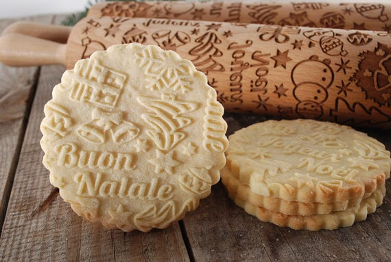 Buon Natale Meaning In English.Buon Natale Engraved Rolling Pin For Cookies Perfect Gift Etsy
