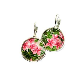Stud Earrings round tropical flowers