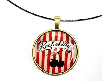 cherries rockabilly necklace pendant