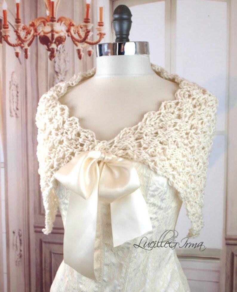 4c824f01f9 Ivory Bridal Shawl Spring Stole Fall Shoulder Cover Crochet