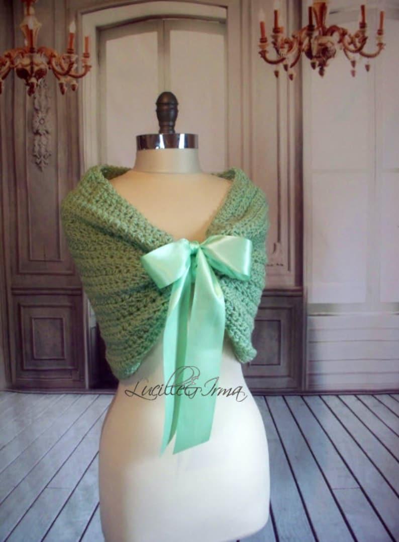4d21fb1b56 Mint Green Bridal Wrap Shrug Wedding Wrap Caplet Bolero Shawl