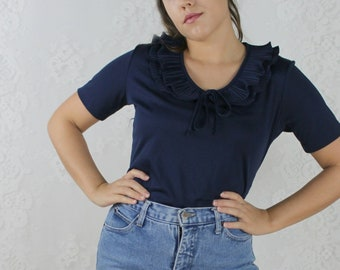 70s 80s Navy Blue Ruffle Blouse // Vintage Short Sleeve Polyester Work Top // Size: M