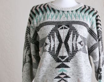 80s Gray Geometric Pullover Sweater // Vintage Heather Gray Black Teal Pink Abstract Pullover // Size: M/L