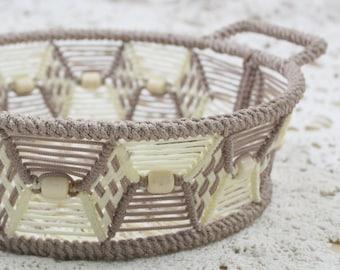 70s Beige Macrame Basket Tray // Vintage Rope Brown Beaded Boho Decorative Basket