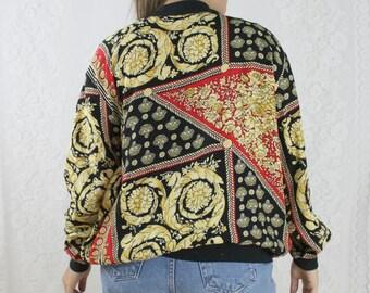 80s Red Baroque Bomber Jacket // Vintage Black Floral Lightweight Jacket // Size: M