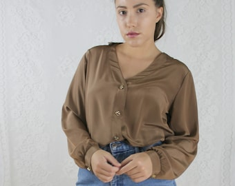 80s Brown Button Up Blouse // Vintage Button Down Gold Metal Buttons Long Sleeve Work Top // Size: M