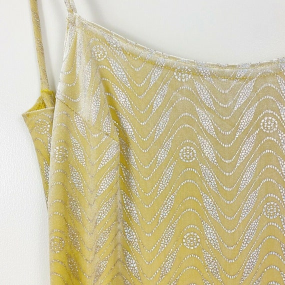 90s Yellow Velvet Metallic Maxi Dress Vintage Bod… - image 3