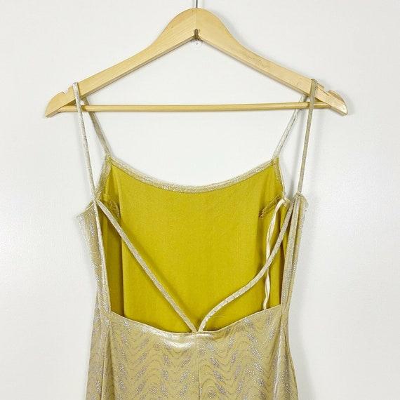 90s Yellow Velvet Metallic Maxi Dress Vintage Bod… - image 10
