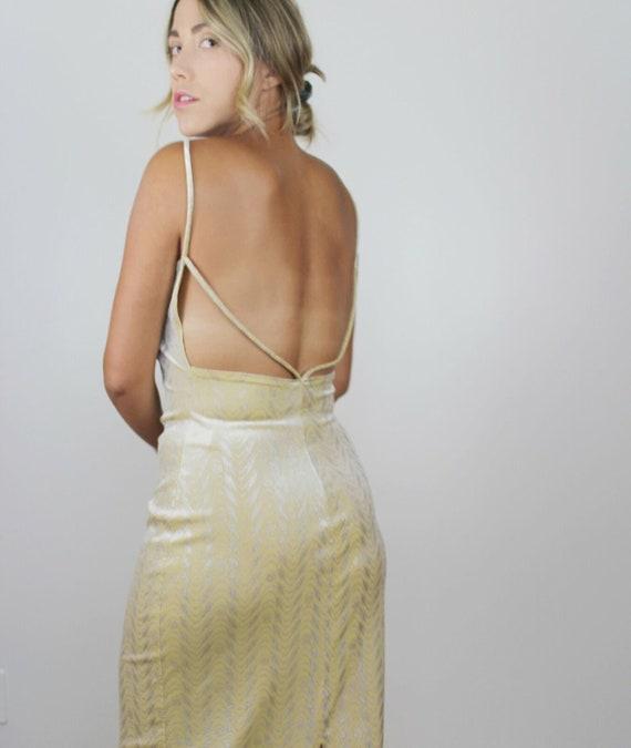 90s Yellow Velvet Metallic Maxi Dress Vintage Bod… - image 8