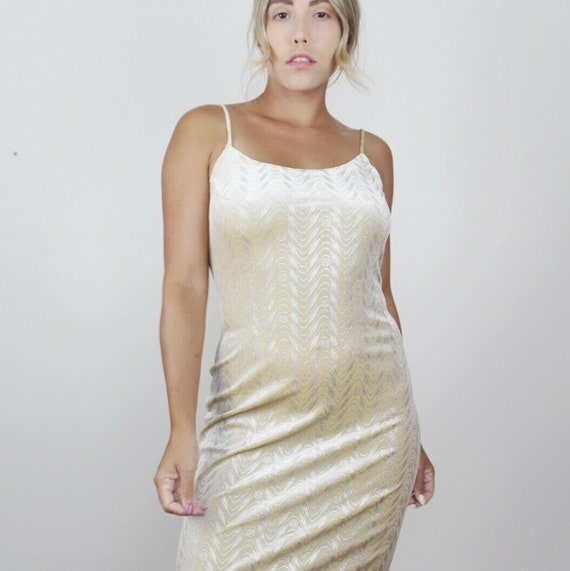 90s Yellow Velvet Metallic Maxi Dress Vintage Bod… - image 2