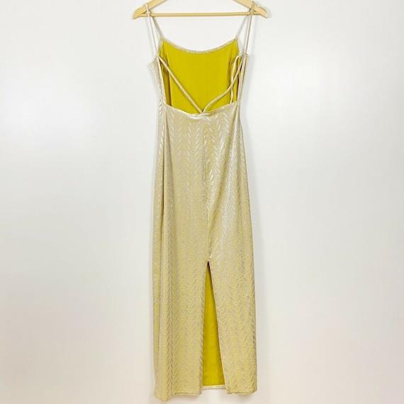 90s Yellow Velvet Metallic Maxi Dress Vintage Bod… - image 4