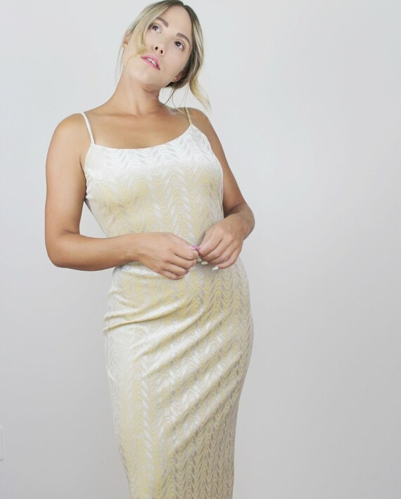 90s Yellow Velvet Metallic Maxi Dress Vintage Bod… - image 1