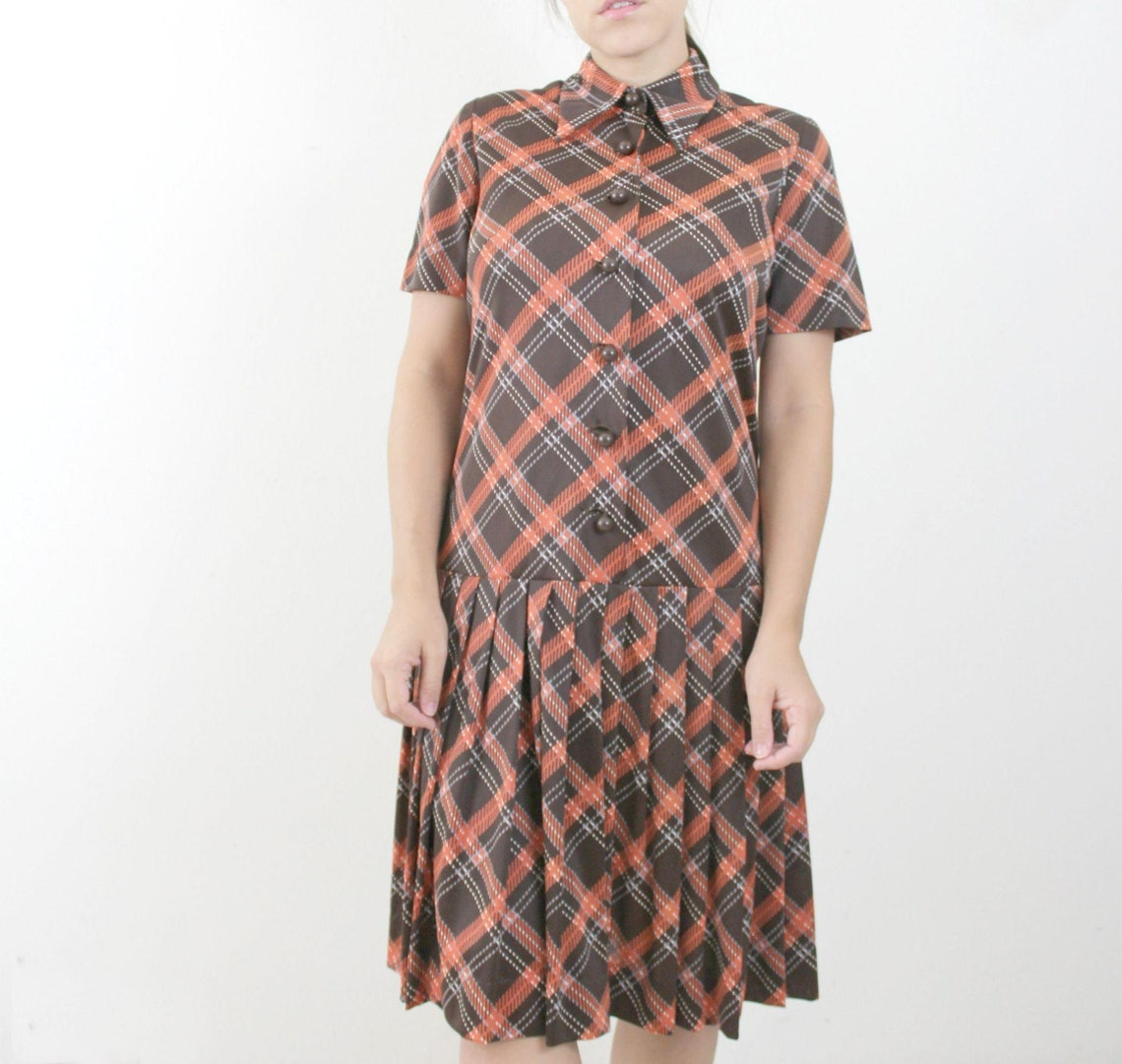 60s 70s Brown Plaid Midi Dress // Vintage Orange Drop Waist