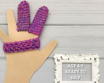 Ready to Ship - Age 4-5 - 2 Finger Protector to Stop Finger Sucking - Crocheted Finger Guard