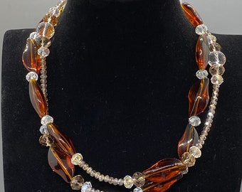 Cut crystal and serpentine brown glass beaded necklace