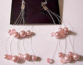 Pink Pearl Floating Pierced Earrings Silver Tone Vintage Long Assorted Bead Dangles
