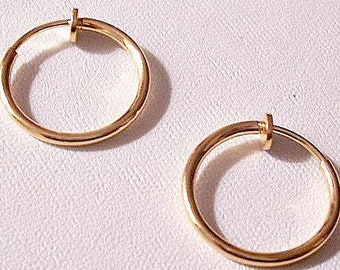 """Thin Tube 1"""" Hoops Clip On Earrings Gold Plated Vintage Non Pierced Plunger Style Open Ring Plain Dangles"""