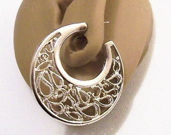 Paisley Open Hoops Pierced Earrings Silver Tone Vintage Curved Large Dangles