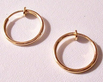"""Thin Tube 3/4"""" 17mm Hoops Clip On Earrings Gold Plated Vintage Non Pierced Plunger Style Open Ring Plain Dangles"""