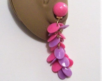 Hong Kong Pink Purple Disc Clip On Earrings Gold Tone Vintage Layered Faceted Beads Round Chain Links