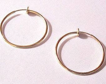 """1 3/8"""" Thin Tube Hoops Plunger Clip On Earrings Gold Plated Vintage Smooth Polished Large Open Dangle Rings"""