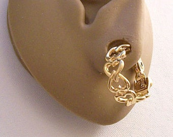 Monet Locked Heart Hoops Clip On Earrings Gold Tone Vintage Large Open Chain Linked Smooth Fancy Swirls Wide Band Comfort Paddles