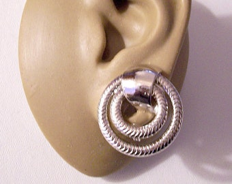 Monet Double Cobra Hoop Clip On Earrings Silver Tone Vintage Swirl Polished Band Large Open Printed Dangle Rings Comfort Paddles