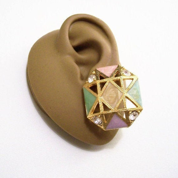 Made in USA Polished Gold Tone Curl /& Ribbed Pierced Earrings Hand Set with Faceted Square Crystal Center Stones