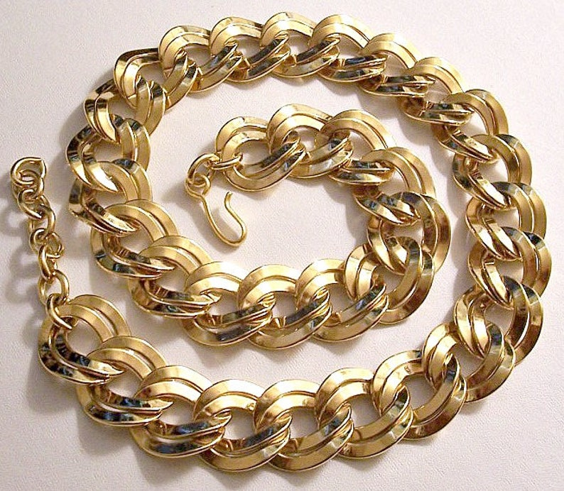 ef5fbd626607d7 Monet Double Layered Necklace Chain Link Gold Tone Vintage 20 | Etsy