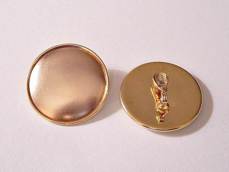 Monet Copper Moon Clip On Earrings Gold Tone Vintage Big Rolled Rimmed Edge Domed Smooth Matte Discs