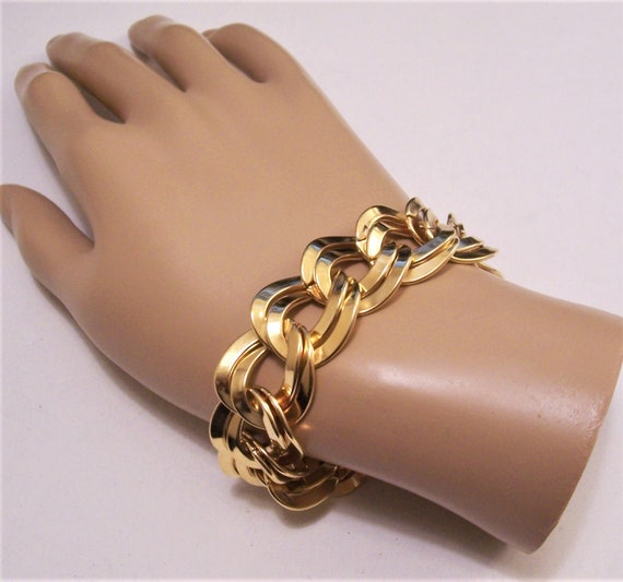 Vintage Monet Gold Tone Flat Chain link Bracelet with a Safety Chain