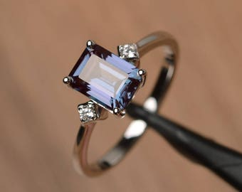 alexandrite ring engagement ring emerald cut gems color changing gemstone sterling silver ring June birthstone
