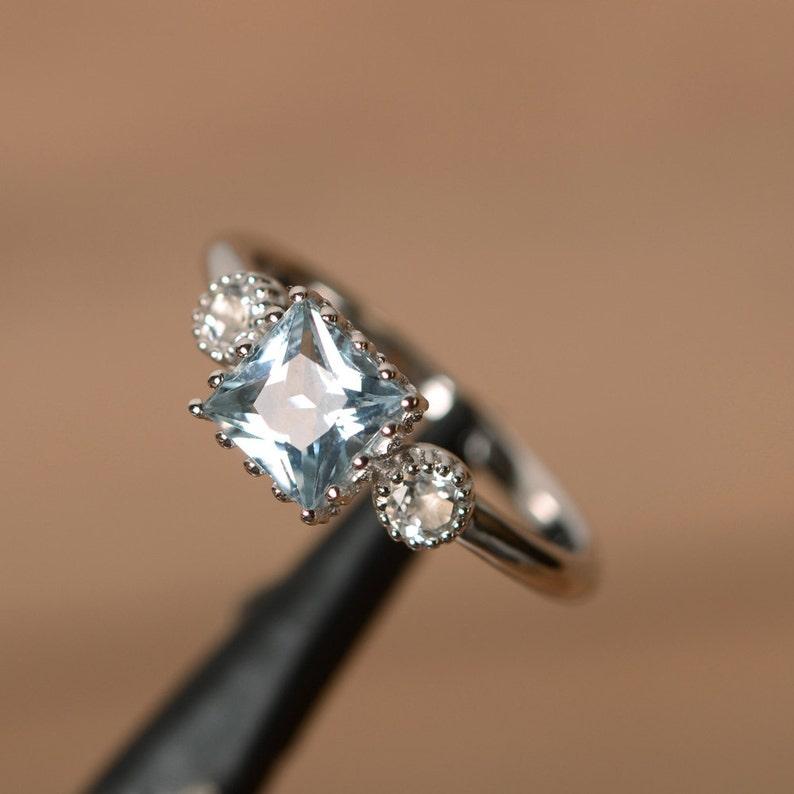 real aquamarine ring sterling silver March birthstone ring engagement ring aquamarine princess cut stunning ring