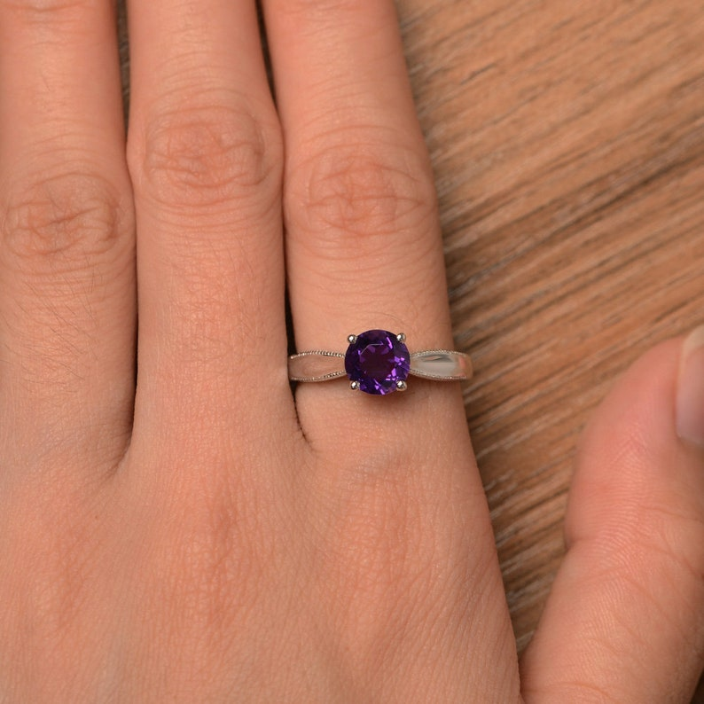 natural amethyst ring engagement ring solitaire ring sterling silver ring February birthstone ring round cut purple gemstone ring