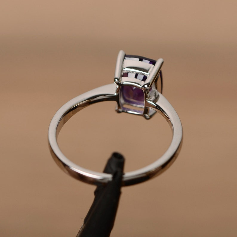 natural gemstone amethyst ring February birthstone ring cushion cut ring solitaire ring promise ring for her