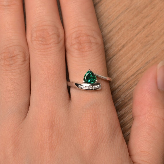 Lab Emerald Ring Engagement Ring Trillion Cut Green Gemstone Sterling Silver Ring May Birthstone Ring Engagement Ring