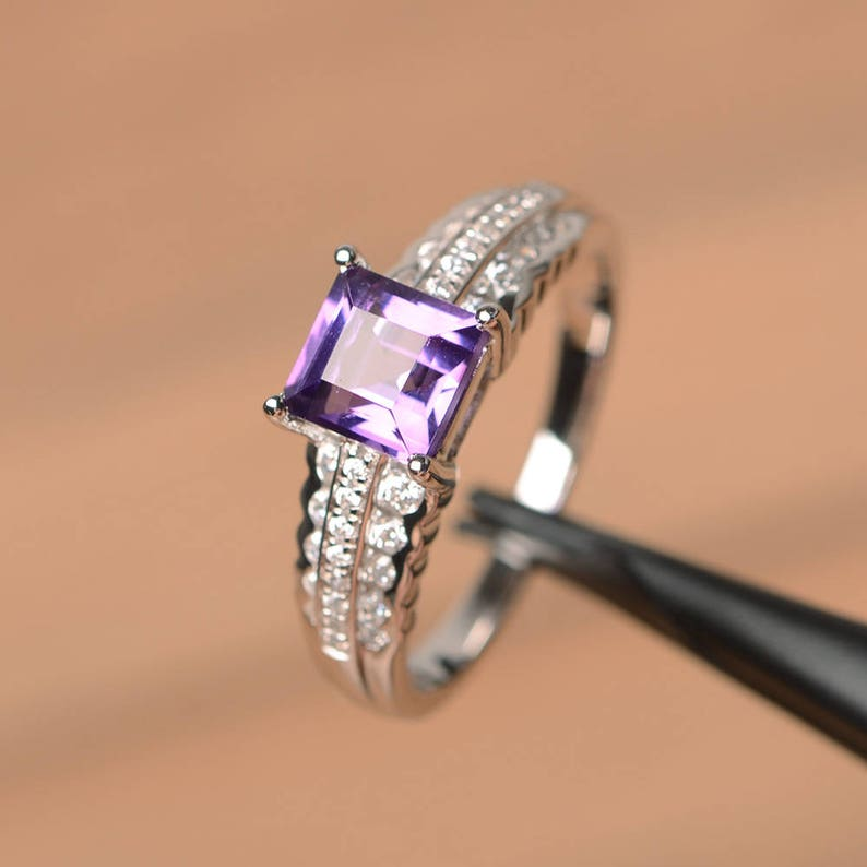 natural amethyst ring wedding ring February birthstone square cut gems  purple gemstone sterling silver ring