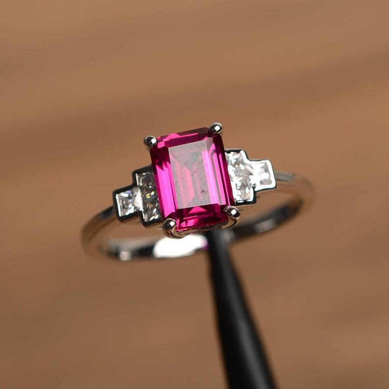 ruby proposal ring red ruby silver ring emerald cut red gemstone sterling silver gifts July birthstone