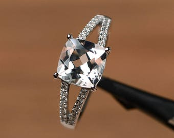 natural white topaz ring gemstone engagement ring cushion cut sterling silver ring