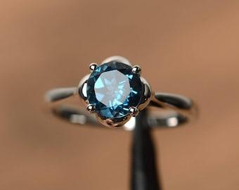 real London blue topaz rings engagement rings blue gemstone round cut rings silver rings