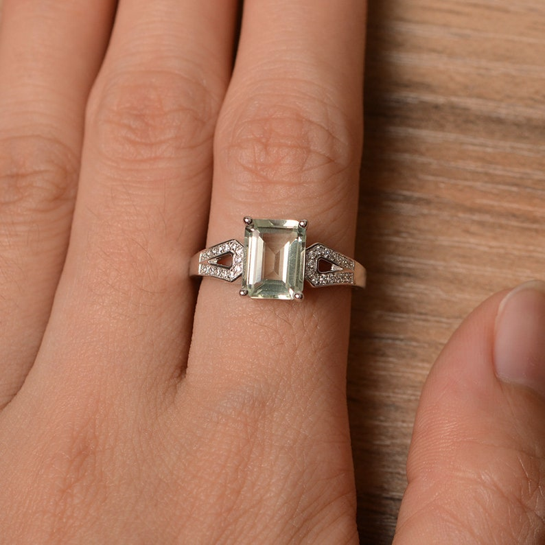 natural gemstone green amethyst ring crystal gemstone ring sterling silver emerald cut engagement ring promise ring for her