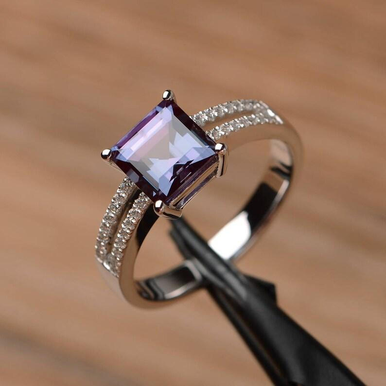 wedding ring June birthstone Lab alexandrite ring emerald cut gemstone sterling silver ring