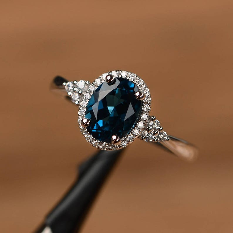 London blue topaz ring oval cut promise ring solid sterling image 0