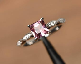 unique princess cut engagement rings natural pink tourmaline rings October birthstone silver rings
