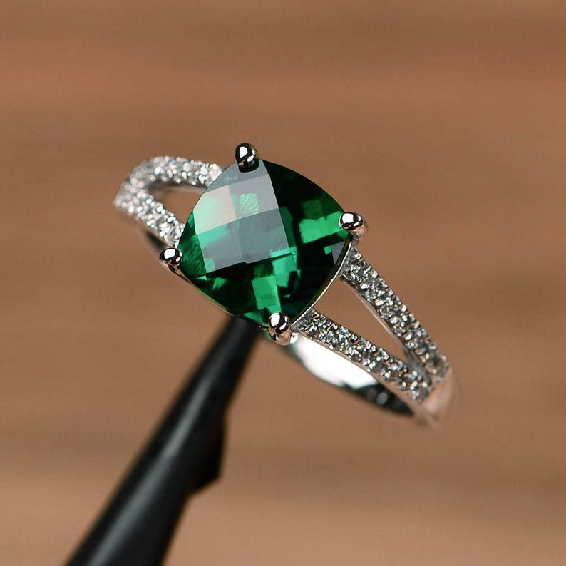 Emerald Ring Cushion Cut Engagement Ring Dark Green Gemstone Ring Silver May Birthstone