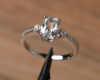natural white topaz ring engagement wedding ring cushion cut solid sterling silver ring birthstone gemstone ring