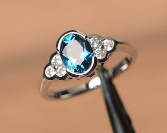 London blue topaz ring anniversary ring oval cut blue gemstone sterling silver ring